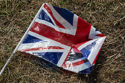 Crumpled Union Flag in Westminster on the day after Parliament voted to take control of Parliamentary proceedings and prior to a vote on a bill to prevent the UK leaving the EU without a deal at the end of October, on 4th September 2019 in London, England, United Kingdom. Yesterday Prime Minister Boris Johnson faced a showdown after he threatened rebel Conservative MPs who vote against him with deselection, and vowed to aim for a snap general election if MPs succeed in a bid to take control of parliamentary proceedings to allow them to discuss legislation to block a no-deal Brexit.