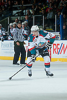 KELOWNA, CANADA - JANUARY 3: Rodney Southam #17 of Kelowna Rockets skates with the puck against the Prince George Cougars on January 3, 2015 at Prospera Place in Kelowna, British Columbia, Canada.  (Photo by Marissa Baecker/Shoot the Breeze)  *** Local Caption *** Rodney Southam;