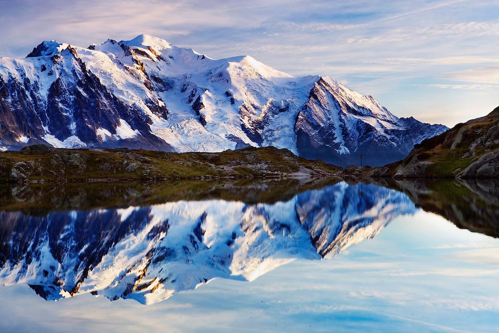 Mountain impression Lacs des Cheserys with Aguille du Midi, Mont Blanc - Europe, France, Haute Savoie, Aiguilles Rouges, Lacs des Chesery - Afternoon - September 2008