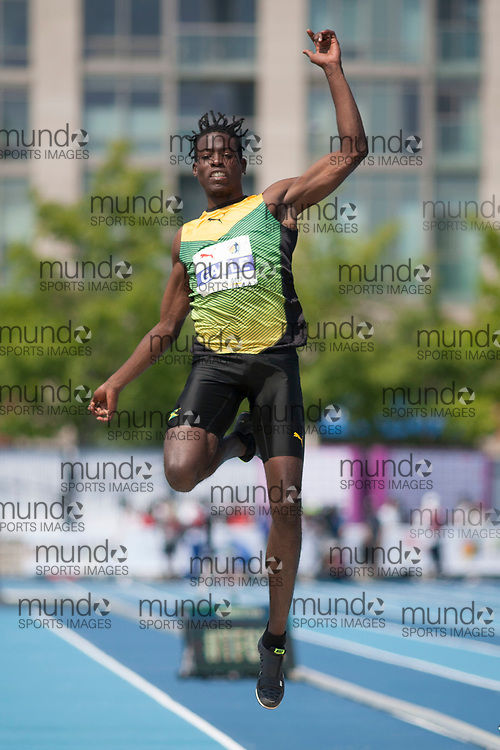 Toronto, ON -- 12 August 2018: Tajay Gayle (Jamaica), silver in long jump at the 2018 North America, Central America, and Caribbean Athletics Association (NACAC) Track and Field Championships held at Varsity Stadium, Toronto, Canada. (Photo by Sean Burges / Mundo Sport Images).