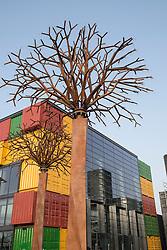 Steel tree sculpture at new Boxpark retail development in Dubai United Arab Emirates