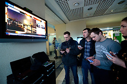 People watch news broadcast at the airport of Rostov-on-Don in southwestern Russia, where the Flydubai Flight 981 crashed, March 19, 2016. A Boeing 737 passenger plane from Dubai crashed early Saturday at the destination airport in southwestern Russia, with all the some 60 people on board feared to have been killed, emergencies authorities and local media reports said. EXPA Pictures © 2016, PhotoCredit: EXPA/ Photoshot/ RIA<br /> <br /> *****ATTENTION - for AUT, SLO, CRO, SRB, BIH, MAZ, SUI only*****