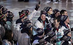 February 25, 2018 - Pyeongchang, KOR - John Shuster, middle, and Team USA enter Pyeongchang Olympic Stadium during the Closing Ceremony of the 2018 Pyeongchang Winter Olympics on Sunday, February 25, 2018 in South Korea. (Credit Image: © Carlos Gonzalez/TNS via ZUMA Wire)
