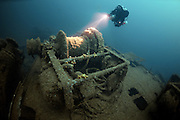 Winch on the SS Empire Heritage. Sunk in World War 2 carrying a cargo of war materials including Sherman Tanks. Lies at 67 metres depth