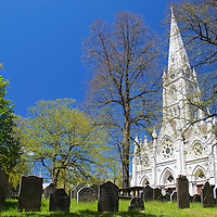 North America, Canada, Nova Scotia, Halifax. Saint mary's Cathedral Basilica overlooks Old Burying Ground of St. Paul's Church Cemetery, a National Historic Site of Canada.