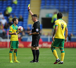 Norwich's Wesley Hoolahan gets booked. - Photo mandatory by-line: Alex James/JMP - Mobile: 07966 386802 30/08/2014 - SPORT - FOOTBALL - Cardiff - Cardiff City stadium - Cardiff City  v Norwich City - Barclays Premier League