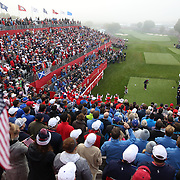Ryder Cup 2016. Day One. Rickie Fowler of the United States tees off at the first hole in the Friday morning foursomes during the Ryder Cup competition at the Hazeltine National Golf Club on September 30, 2016 in Chaska, Minnesota.  (Photo by Tim Clayton/Corbis via Getty Images)