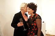 SALLY BRAMPTON; LULU GUINNESS, Lulu Guinness And Rob Ryan Fan Bag - Launch Party. Air Gallery. London. 10 November 2010.  -DO NOT ARCHIVE-© Copyright Photograph by Dafydd Jones. 248 Clapham Rd. London SW9 0PZ. Tel 0207 820 0771. www.dafjones.com.