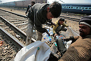Youngsters count and sort the bottles they have collected from the 4pm train at the Jaipur train station.  Children, some who have run away from their families, find themselves living homeless on the train tracks waititng for the next train to arrive at the train station in Jaipur, India.  Once the train arrives they raid the train looking for plastic bottles that they can then sell.  Most will make about $1.50/day but spend most of it on glue which they are most addicted to.