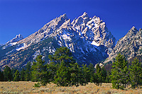 The Cathedral Group, viewed from Jenny Lake Junction.  Grand Teton National Park.  Wyoming, USA