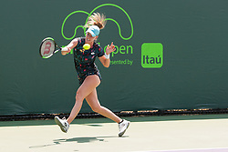 March 20, 2018 - Key Biscayne, FL, U.S. - Key Biscayne, FL - MARCH 20: Alison Riske (USA) competes during the qualifying round of the 2018 Miami Open on March 20, 2018, at Tennis Center at Crandon Park in Key Biscayne, FL. (Photo by Aaron Gilbert/Icon Sportswire) (Credit Image: © Aaron Gilbert/Icon SMI via ZUMA Press)