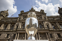 Handout photo dated 02/06/2021 provided by JSHPIX of the Euro 2020 trophy in the city centre as the Henri Delaunay Cup made a special visit to Glasgow's Walking Football programme today as part of the UEFA EURO 2020 Trophy Tour. Issue date: Wednesday June 2, 2021.