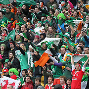 Irish and Welsh fans cheer on their teams during the Ireland V Wales Quarter Final match at the IRB Rugby World Cup tournament. Wellington Regional Stadium, Wellington, New Zealand, 8th October 2011. Photo Tim Clayton...