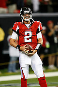 ATLANTA - AUGUST 29:  Quarterback Matt Ryan #2 of the Atlanta Falcons takes a breather during pre-game warmups before the game against the San Diego Chargers at the Georgia Dome on August 29, 2009 in Atlanta, Georgia.  The Falcons beat the Chargers 27-24.  (Photo by Mike Zarrilli/Getty Images)