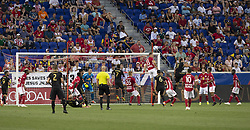 August 5, 2018 - Harrison, New Jersey, United States - Aaron Long (33) of Red Bulls defends during regular MLS game against LAFC at Red Bull Arena Red Bulls won 2 - 1  (Credit Image: © Lev Radin/Pacific Press via ZUMA Wire)