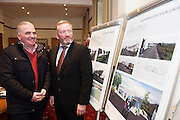 Repro FREE : Cllr Tomas Welby and Dr. Kevin Heanue, Chairman of Connemara West at the launch of Connemara West's  ambitious International Residential Education Centre at a briefing in the Hotel Meyrick, Galway . The Centre, in the village of Tullycross, County Galway will consist of a state-of-art newly built education hub with a 50 seat auditorium; a wifi-enabled library; group study/breakout rooms; video conferencing facilities; meeting rooms; a conference room; community meeting rooms and a coffee dock. <br /> The accommodation part of the Centre will be made up of the renovated iconic 9 thatched cottages in Tullycross village, Connemara West's first project in 1973, and will hold up to 40 students and faculty.<br /> Photo:Andrew Downes, xposure