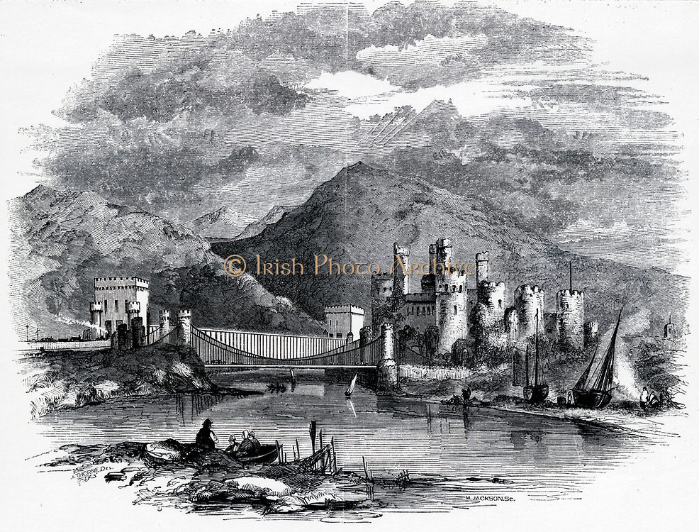 'Telford's Conway supension road bridge and behind it Robert Stephenson's box girder rail bridge over the river Conway, Wales. Engraving c1860.'