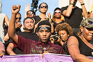 Hundreds at a protest in New Orleans at Lee Circle against police brutality following the killing of Alton Sterling in Baton Rouge and Philando Castile in Minnesota on July 8, the day after 5 police officers will killed by a sniper in Dallas.