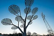 Nederland, Oss, 6 feb 2015<br /> Zonnepanelen in een kunstwerk. Boom met zonnepanelen. Hiervan staan er een aantal in Oss.<br /> Foto: (c) Michiel Wijnbergh