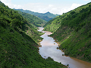 View of the Nam Ou river in Phongsaly province during the dry season, Lao PDR. The 425 km long Nam Ou river is a major tributary of the Mekong and is the lifeline of remote and roadless rural communities and local economies.