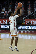 Southern California Trojans guard That Eaddy (2) shoots a three pointer during an NCAA men's basketball game against the Stanford Cardinal, Wednesday, March 3, 2021, in Los Angeles. USC defeated Stanford 79-42. (Jon Endow/Image of Sport)