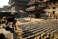 Potters Square in Bhaktapur is the center for pottery in the Kathmandu Valley and has been producing ceramics since the fifteenth century.