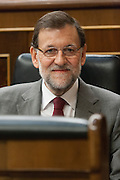 Mariano Rajoy in his seat, after the scandal of the alleged fraudulent financing of his political party