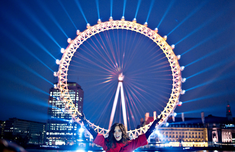 Unique pre-dawn lighting up of the EDF Energy London Eye  with Myleene Klass - casting a light across the London South Bank to symbolise the dawning of  a low carbon vision for the Capital and beyond in London. Bogdan Maran/Big Pictures