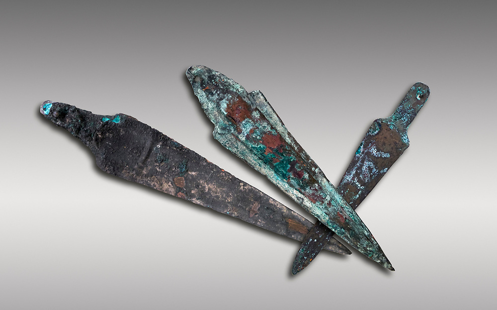 Hittite bronze spear heads. Hittite Period 1650 - 1450 BC.  Hattusa Boğazkale. Çorum Archaeological Museum, Corum, Turkey .<br />  <br /> If you prefer to buy from our ALAMY STOCK LIBRARY page at https://www.alamy.com/portfolio/paul-williams-funkystock/hittite-art-antiquities.html  - Type Hattusa into the LOWER SEARCH WITHIN GALLERY box. Refine search by adding background colour, place,etc<br /> <br /> Visit our HITTITE PHOTO COLLECTIONS for more photos to download or buy as wall art prints https://funkystock.photoshelter.com/gallery-collection/The-Hittites-Art-Artefacts-Antiquities-Historic-Sites-Pictures-Images-of/C0000NUBSMhSc3Oo