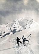 Skiing at the La Clusaz ski resort in the French Alps 1934
