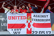 Manchester United fans with anti terrorism flag before the Europa League Final between Ajax and Manchester United at Friends Arena, Solna, Stockholm, Sweden on 24 May 2017. Photo by Phil Duncan.