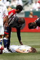 20 May 2007: #5 Chris Albright lays on the grass after a hamstring injury on a header during a 1-1 tie for MLS Chivas USA vs. Los Angeles Galaxy pro soccer teams at the Home Depot Center in Carson, CA.