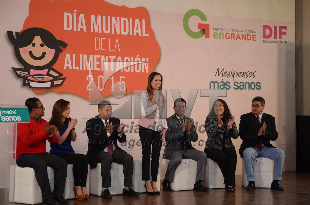 Toluca, México.- Isis Ávila Muñoz presidenta honoraria del DIF Estado de México, durante la celebración del Día Mundial de la Alimentación 2015 en las instalaciones del DIFORAMA.Agencia MVT / Arturo Hernández.