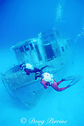 rebreather divers on the wreck of the Bahama Mama, <br /> Nassau, Bahamas ( Western Atlantic Ocean ) MR 244, MR 248