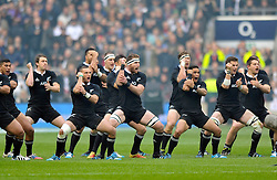 New Zealand players perform the haka prior to the match - Photo mandatory by-line: Patrick Khachfe/JMP - Tel: Mobile: 07966 386802 16/11/2013 - SPORT - RUGBY UNION -  Twickenham Stadium, London - England v New Zealand - QBE Autumn Internationals.