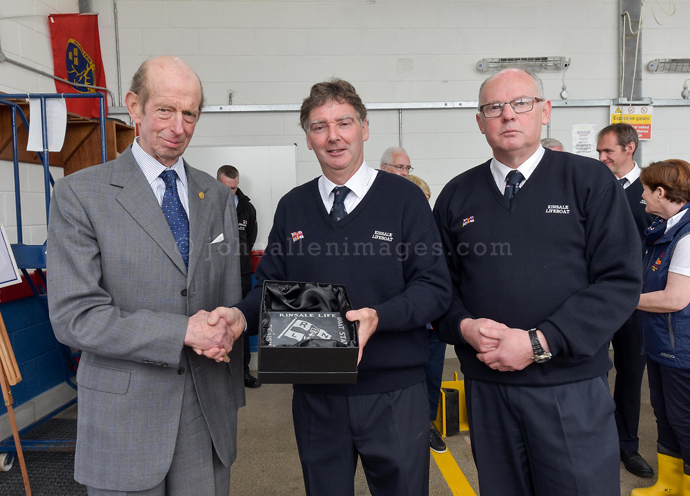 """Picture. John Allen<br /> <br /> Volunteer crew members of Kinsale RNLI  gave a warm welcome the His Royal Highness the Duke of Kent who made his first visit to the busy West Cork lifeboat station today (Wednesday 31 May).  The Duke has been Patron and President  of the RNLI,  the charity that saves lives at sea, since 1969.   He spent almost an hour meeting volunteers and hearing details of successful rescues by the Kinsale volunteers, including the Sean Anthony in April 2016 when three Portuguese fishermen were saved from a sinking trawler, and the evacuation of 30 people from the sailing vessel Astrid that foundered outside Kinsale Harbour in July 2013.  The Duke was introduced to Christopher Keane Hopcraft, one of the young people rescued from the Astrid, and Mrs Janet Rutherford who received medical attention and was brought to safety after she was injured on board a yacht.  Members of the local community were also invited to meet the Duke, including representatives of Kinsale's fishing fleet, along with RNLI volunteers from West Cork's newest station in Union Hall and representatives of the GAA, partners in the RNLI Respect the Water campaign that aims to halve the number of coastal deaths by 2024.<br /> <br /> The Duke said:<br /> <br /> Kinsale RNLI Lifeboat Operations Manager, John O'Gorman, said:  """"It was a honour and a privilege for us to meet the Duke who has provided unwavering support to the RNLI for almost half a century.  Our station on the Wild Atlantic Way is a long way from the RNLI HQ in Poole so we rarely get the opportunity to meet someone so close to the heart of the charity.  In that time he has visited the vast majority of lifeboat stations and we are delighted he chose to add Kinsale to that list.  He showed a great knowledge and understanding of our lifesaving work and <br /> sometimes being so on the coalface"""