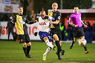 Tottenham Hotspur midfielder Lucas Moura (27) takes a shot during the The FA Cup match between Marine and Tottenham Hotspur at Marine Travel Arena, Great Crosby, United Kingdom on 10 January 2021.