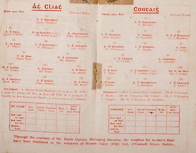 All Ireland Senior Hurling Championship Final,.Brochures,.03.09.1944, 09.03.1944, 3rd September 1944, .Cork 2-13, Dublin 1-2, .Senior Cork v Dublin, .Croke Park, ..Dublin Senior Team, James Donegan, Goalkeeper, James O'Neill, Right corner-back, Ml Butler, Full-back, Patk McCormick, Left corner-back, F White, Right half-back, C Flanagan, Centre half-back, Jas Egan, Left half-back, Henry Grey, Midfielder, Ml Hassett, Midfielder, Ter Leahy, Right half-forward, Ed Wade, Centre half-forward, Jas Byrne, Left half-forward, Patk. Maher, Right corner-forward, Chas Downes, Centre forward, Ml Ryan, Left corner-forward, Substitutes, Kevin Matthews, B White, C Forde, M Gill, P Farrell, D Devitt, J Cullanan, ..Cork Senior, J Mulcahy, Goalkeeper, Wm Murphy, Right corner-back, B Thornhill, Full-back, D J Buckley, Left corner-back, P O'Donovan, Right half-back, C Murphy, Centre half-back, A Lotty, Left half-back, J Lynch, Midfielders, C Cotterill, Midfielders, C Ring, Right half-forward, J Condon, Captain, Centre half-forward, Dr J Young, Left half-forward, J Quirke, Right corner-forward, J Morrison, Centre forward, J Kelly, Left corner-forward, Substitutes, Wm Campbell, P Healy, Mat Fouhy, C Dorgan, M Brennan,
