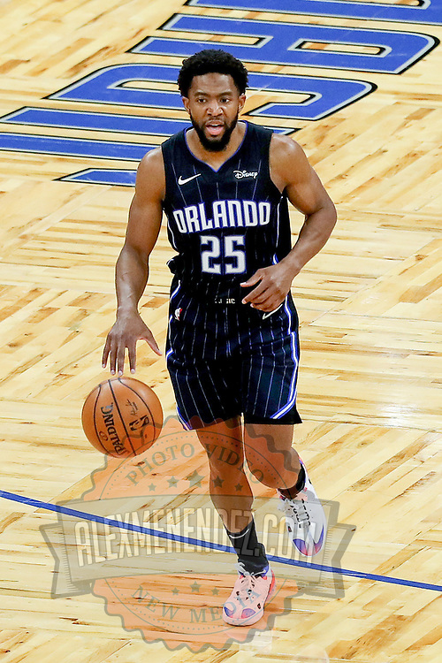 ORLANDO, FL - MARCH 03: Chasson Randle #25 of the Orlando Magic controls the ball against the Atlanta Hawks at Amway Center on March 3, 2021 in Orlando, Florida. NOTE TO USER: User expressly acknowledges and agrees that, by downloading and or using this photograph, User is consenting to the terms and conditions of the Getty Images License Agreement. (Photo by Alex Menendez/Getty Images)*** Local Caption *** Chasson Randle