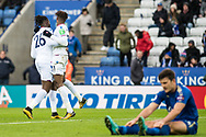 Crystal Palace #11 Wilfried Zaha, Crystal Palace #26 Bakary Sako, celebrates after scoring goal during the Premier League match between Leicester City and Crystal Palace at the King Power Stadium, Leicester, England on 16 December 2017. Photo by Sebastian Frej.