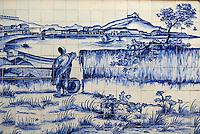 Chine, Macao, Azulejos de la Traversa do Meio, Praia Grande vu du Fort de Bom Parto de Georges Chinnery, 1835 // China, Macau, Tiles on the Traversa do Meio, Praia Grande from Bom Parto Fort, from Georges Chinnery, 1835