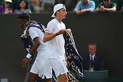 Ugo Humbert (FRA) during his first round match at the 2019 Wimbledon Championships at the AELTC in London, UK on July 1, 2019. Photo by Corinne Dubreuil/ABACAPRESS.COM