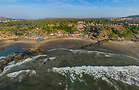 Aerial view of crowds on beach, Goa, India