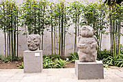 Totonacs stone sculptures on display at the Museum of Anthropology in the historic center of Xalapa, Veracruz, Mexico. The Totonac civilization were an indigenous Mesoamerican civilization dating roughly from 300 CE to about 1200 CE.