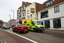 April 30, 2019 - London, UK, UK - London, UK. An ambulance on Muswell Hill Broadway in Haringey, north London where a 18 years old man was found suffering from knife wounds shortly after 9.20pm on Monday 29 April 2019. The victim was treated at the scene before being rushed to hospital. (Credit Image: © Dinendra Haria/London News Pictures via ZUMA Wire)