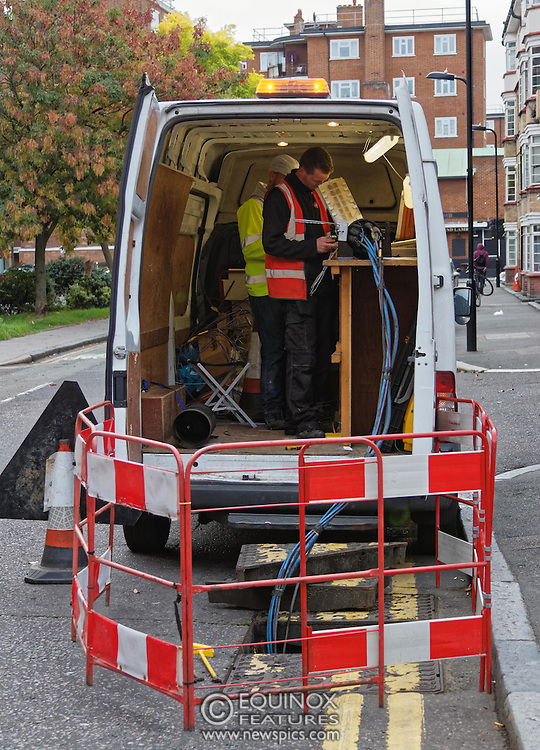 London, United Kingdom - 10 October 2015<br /> Huge drill cuts Virgin fiber cable. Thousand customers without weekend TV and internet. Severed fiber optic cables have caused up to a thousand customers of Virgin Media in Shoreditch and Hackney in London to be left without broadband internet and cable television this weekend. Engineers believe the total loss of service, which continues to be down this Saturday evening, is unlikely to be fixed until Sunday lunchtime at the earliest. The damage to a primary cable carrying 96 fiber optic cables including some belonging to the EE mobile network was caused by a huge drilling rig on a nearby construction site for a block of flats being built by Formation Construction Ltd. An engineer working on the drilling site claimed they had not 'drilled through the cable'. 'We damaged the cable' he said. He then demanded we delete images of the offending drilling rig. Technicians working on behalf of Virgin Media were working hard to replace the damaged cables. Virgin Media press office did not respond to repeated requests to speak with them for comment today.<br /> (photo by: EQUINOXFEATURES.COM)<br /> <br /> Picture Data:<br /> Photographer: Equinox Features<br /> Copyright: ©2015 Equinox Licensing Ltd. +448700 780000<br /> Contact: Equinox Features<br /> Date Taken: 20151010<br /> Time Taken: 16533023<br /> www.newspics.com