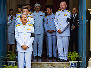 14 OCTOBER 2016 - BANGKOK, THAILAND: Members of the Thai cabinet leave Sahathai Samakom Pavilion at the Grand Palace after paying respects to Bhumibol Adulyadej, the King of Thailand, who died Oct. 13, 2016. He was 88. His death comes after a period of failing health. With the king's death, the world's longest-reigning monarch is Queen Elizabeth II, who ascended to the British throne in 1952. Bhumibol Adulyadej, was born in Cambridge, MA, on 5 December 1927. He was the ninth monarch of Thailand from the Chakri Dynasty and is known as Rama IX. He became King on June 9, 1946 and served as King of Thailand for 70 years, 126 days. He was, at the time of his death, the world's longest-serving head of state and the longest-reigning monarch in Thai history.     PHOTO BY JACK KURTZ