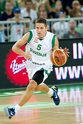 Jaka Lakovic of Slovenia during friendly basketball match between National teams of Slovenia and Montenegro of Adecco Ex-Yu Cup 2011 as part of exhibition games before European Championship Lithuania 2011, on August 7, 2011, in Arena Stozice, Ljubljana, Slovenia. Slovenia defeated Crna Gora 86-79. (Photo by Vid Ponikvar / Sportida)