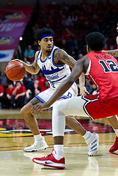 NORMAL, IL - February 22: Roman Penn defended by Antonio Reeves during a college basketball game between the ISU Redbirds and the Drake Bulldogs on February 22 2020 at Redbird Arena in Normal, IL. (Photo by Alan Look)