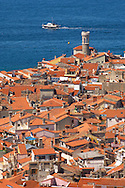 iew oer the roof tops with sea in the distance. Piran , Slovenia Visit our PHOTO COLLECTIONS OF SLOVANIAN  HISTOIC PLACES for more photos to download or buy as wall art prints https://funkystock.photoshelter.com/gallery-collection/Pictures-Images-of-Slovenia-Photos-of-Slovenian-Historic-Landmark-Sites/C0000_BlKhcYWnT4Sites/C0000qxA2zGFjd_k